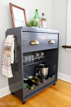 """This is an IKEA Rast Hack that will have you saying """"sip sip hooray!"""" Learn how to turn a plain dresser into a fun bar cart with this simple tutorial."""