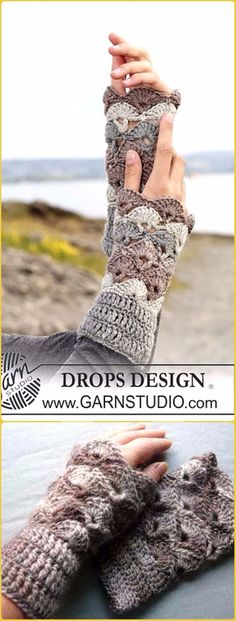 Crochet Crocheted Shell Wrist Warmers  Free Pattern - Crochet Arm Warmer Free Patterns