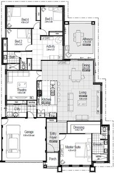 SeascapesSeascapes is a huge 4 bedroom plus office 2 bathroom family home packed with unusual features FeaturesA family 5 Bedroom House Plans, New House Plans, House Floor Plans, I Love House, Australian Homes, House Layouts, Building A House, Home And Family, Sweet Home