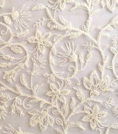 Gypsyland Collection Embroidered Floral Mesh Knit Ivory Fabric