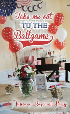 Take me out to the ballgame BASEBALL themed birthday party Kids Adult Red Blue Ball 79th