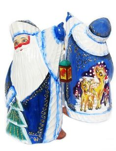 GreatRussianGifts.com - Little Tree Hand Carved Wooden Santa in Blue, http://www.greatrussiangifts.com/little-tree-hand-carved-wooden-santa-in-blue/