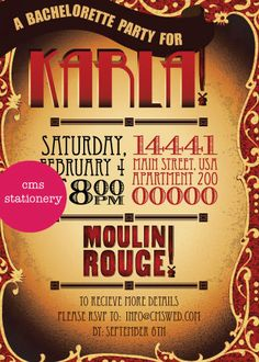 moulin rouge bachelorette party invitations by cms stationery