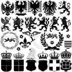 Buy Heraldry Design Elements by on GraphicRiver. Vector of heraldry design elements on white background. Package contains: EPS version), JPG pixels, RGB). Vector Design, Vector Art, Family Crest Symbols, Medieval, Double Headed Eagle, Family Logo, Monogram Letters, Graphic Design Typography, Coat Of Arms