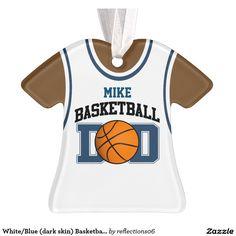 White/Blue (dark skin) Basketball Dad Tank