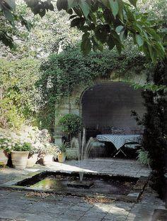 An outdoor dining room in a courtyard grotto. Outdoor Rooms, Outdoor Gardens, Outdoor Living, Courtyard Gardens, Landscape Design, Garden Design, Water Features In The Garden, My Secret Garden, Porches