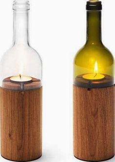 Dark Stained Natural Branch Candle Wine Bottle Tea Light Holder - All About Decoration Wine Bottle Candles, Bottle Lights, Wine Bottle Crafts, Bottle Lamps, Led Bottle Light, Wine Themed Decor, Wood Projects, Woodworking Projects, Lathe Projects