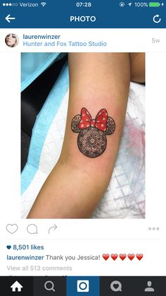 Tattoo design from Lauren winser Instagram. Disney Minnie Mouse mandala