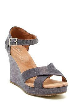 Metallic Linen Strappy Wedge Sandal on HauteLook
