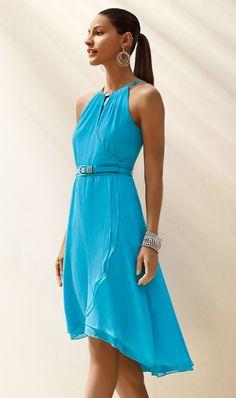 WHBM Cerulean Chiffon High-Low Dress.  #whbm #summer