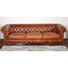 Enhance the look of your living room or den with the Pasargad Genuine Leather Chester Bay Tufted Sofa. This tufted leather sofa adds an air of luxury, and class to any room, and is a must-have additio Tufted Leather Sofa, Genuine Leather Sofa, Tufted Sofa, Loveseat Sofa, Couches, Sofa Set, Leather Chairs, Sectional Sofas, Sofa Chair