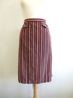 Corduroy Pencil Skirt Vintage Red Striped by RedsThreadsVintage, $27.00