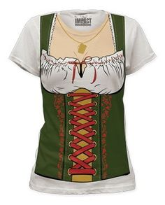 Impact Fraulein Octobeerfest Barmaid Junior's Fitted Costume T Shirt - Small: A women's 30/1 fitted soft cotton costume t-shirt featuring Fraulein Octoberfest Barmaid. Shirt runs small. We recommend that you order up 1 to 2 sizes.