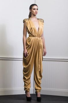 Summer 2014, Spring Summer, Plunging Neckline, Silk Satin, Ready To Wear, Jumpsuit, Formal Dresses, Gold, How To Wear