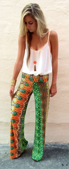Lovely colorful pant and thin strap top