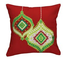 "Ornament Embroidered Pillow - 16""- $29.99 from Uptown Simple #decorativepillow #throwpillow #homedecor #holidays"
