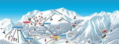 Panoramakarte für Swiss Ski + Snowboard School Klosters, #skiing #pistenplan #panoramakarte Snowboard, Mount Everest, Mountains, Nature, Travel, Skiing, Tourism, Cards, Naturaleza