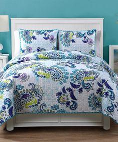 Look at this #zulilyfind! Blue Samantha Four-Piece Quilt Set #zulilyfinds
