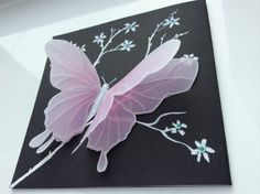 Origanal Water Color Greeting Card Cards Artist Art Butterfly Parchment