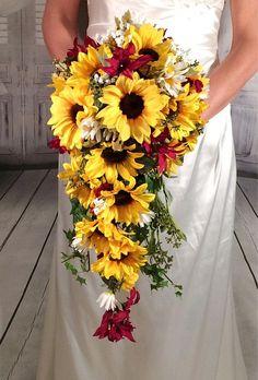 Sunflower burgundy bouquet, cascade sunflower wedding bouquet, sunflower greenery baby's breath bouquet, waterfall bouquet, ready to ship