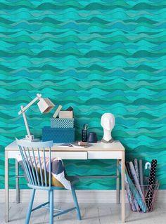 Blue waves tapet | Fototapet | Blå | Turkos | Vatten | Vågor
