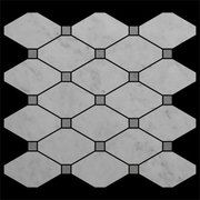 Long Octagon Mosaic Tile with Bardiglio Gray Dots Honed