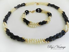 Vintage 3 Strand Faux Pearl & Gold with Black Seed Bead Necklace and Bracelet by PegsVintageJewellery, $16.00