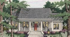 This cottage style house plan is 1997 square feet and features 4BR, 2.5BA and a 2-car garage.