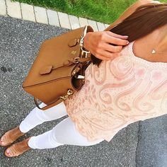 IG @mrscasual <click through to shop this look> chicwish sequin blush tank. White skinny jeans. Steve Madden sandals. Tory burch Robinson tote. Kendra Scott.