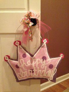 Birthday Girl Crown Burlap Door Hanger by crainscreations on Etsy, $35.00