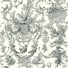 Old World Toile in Black Wallpaper #York