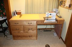 My wonderful hubby altered an antique desk to make a similar setup for me. He. Is. Awesome