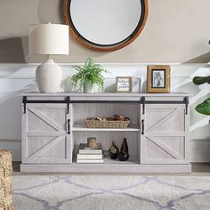Barn Wood Tv Stand, Barn Door Console, Barn Storage, Table Storage, Storage Spaces, Living Room Storage, Living Room Furniture, Furniture Decor, Walnut Furniture