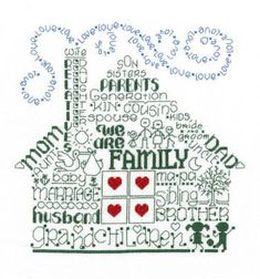 Imaginating Let's Be Family - Cross Stitch Pattern. We are Family. Model stitched on 14 ct white aida using DMC floss. Stitch count 108x110.
