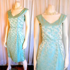 sheath wiggle  dress. jacquard, vintage 1950s, 1960s, party. cocktail. wedding. bridal. evening. Mad Men. mid century. garden party. S/M