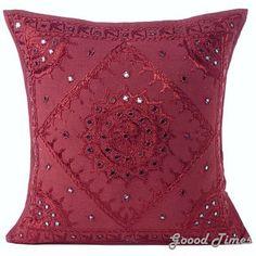 Goood Times Maroon Mirror Embroidered Boho Decorative Pillow Bohemian Cushion Cover