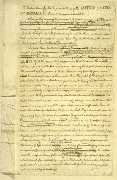 Jefferson's first draft of the Declaration of Independence, 1776.