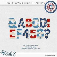 Promotions :: Featured Coordinated Collection :: Surf, sand and the 4th - Alphabet