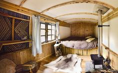 Glamping in Britain: a shepherd's hut in adults-only Crafty Camping, Dorset Gypsy Caravan, Gypsy Wagon, Shepherds Hut, The Shepherd, Glamping Dorset, Glamping Uk, Check Curtains, Canopy And Stars, Lyme Regis