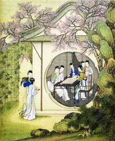 Ladies in a pavilion by Leng Mei (1677-1742)