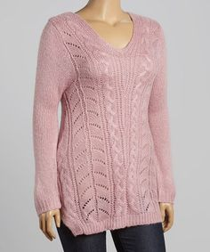 Love this Blush Cable-Knit V-Neck Sweater - Plus by Carol Rose on #zulily! #zulilyfinds