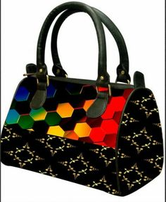 Black base with multicolor hexagons Digital Print Hand bag for only 1049/-
