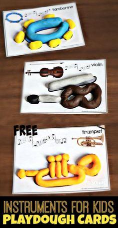 FREE Instruments for Kids Playdough Mats