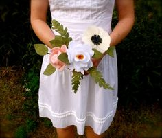 felt bouquet with a rose, peony, anemone, and greenery (eco-friendly) // customizable felt flower bouquet on Etsy, $56.00