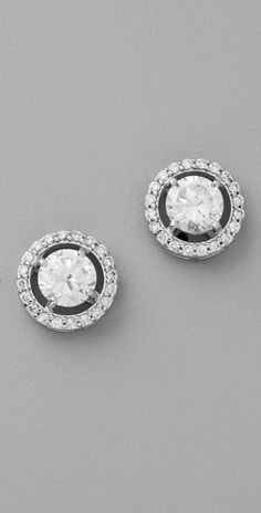 diamond is forever women's best friend! This goes with every outfit -   Kenneth Jay Lane Round Floating Stud Earrings