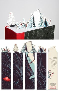 Moby-Dick bookmarks by Pietari Posti.     So clever and pretty!