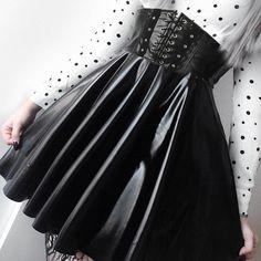 Harajuku Pretend Leather-based Black Lace up Skirt on Storenvy