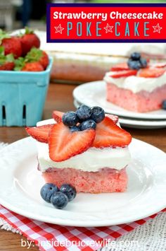 Strawberry Cheesecake Poke Cake | Inside BruCrew Life - strawberry cake with a strawberry milk mixture soaked in and topped with a cheesecake Cool Whip frosting #pokecake #strawberry