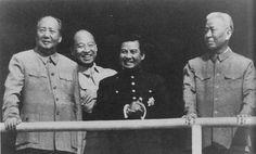 Norodom Sihanouk (3rd) with Mao Zedong, Peng Zhen and Liu Shaoqi from China