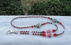 Christmas ID Badge Bead Lanyard Necklace Red by TheLanyardNecklace Bugle Beads, Seed Beads, Crystal Beads, Glass Beads, Beaded Jewelry, Beaded Bracelets, Lanyard Necklace, Beaded Lanyards, Peppermint Candy